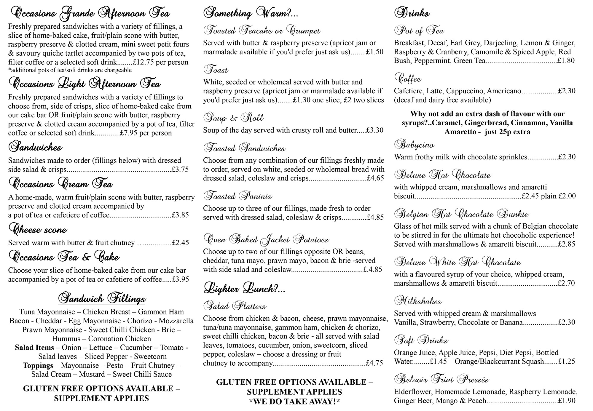 New Menu Occasions Tea Room 2018